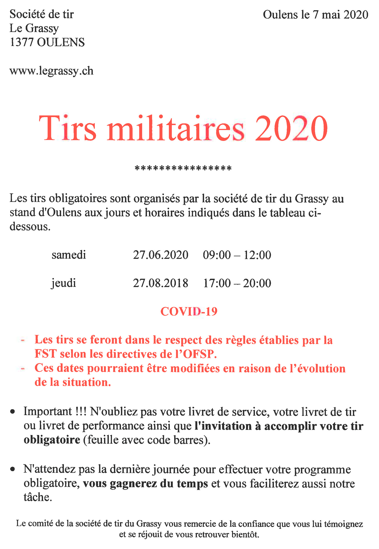 2020 tirs militaires
